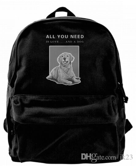 All You Need Is Love...And A Dog Canvas Shoulder Backpack Cute Backpack For  Men   Women Teens College Travel Daypack Black Backpacks For Kids Backpack  With ... 16859a52138d0