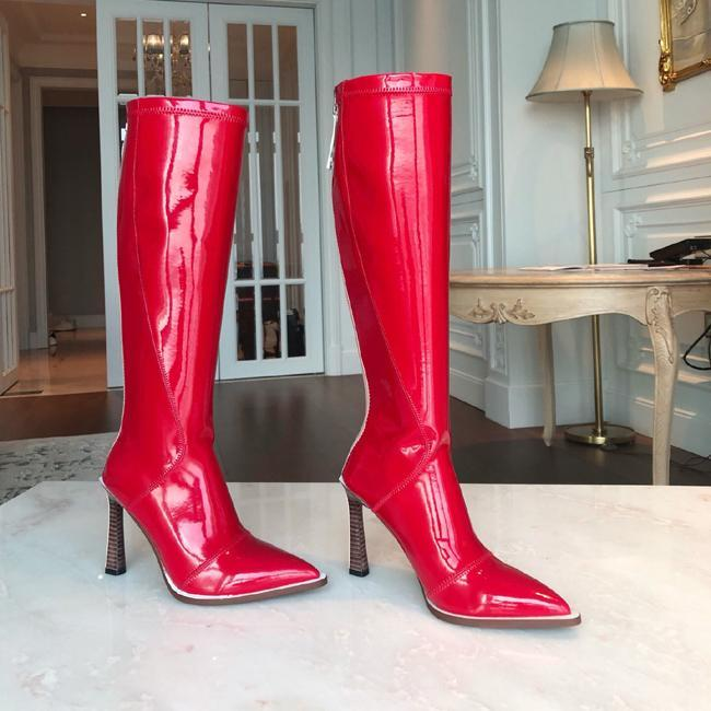 Hot Sale-ashion designer women patent leather boots Pointed high heel Knee High Boots Slip On knight boots Motorcycle boot with box