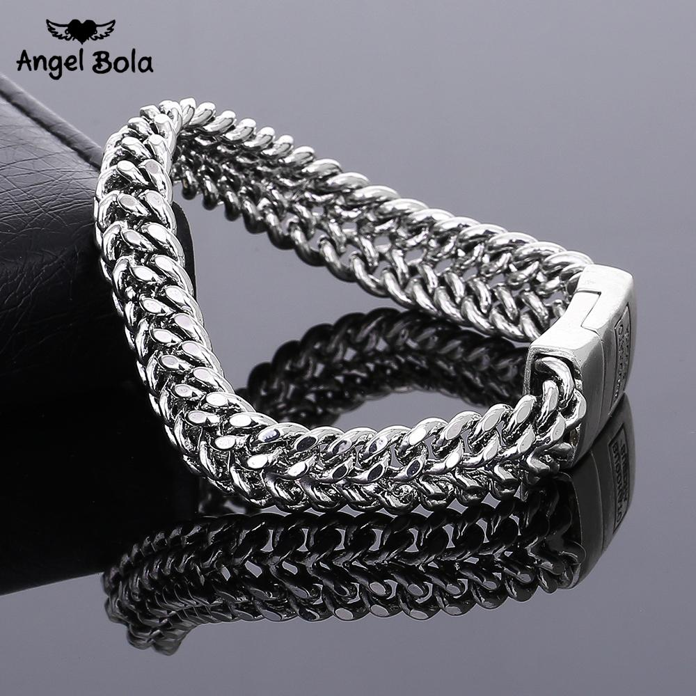 Ancient Silver Fashion Punk 11.5mm Width Buddha Bracelet For Women Diy Bangle Charms Bracelets Men Pulseira Jewelry Gift B1216-7 C19021201