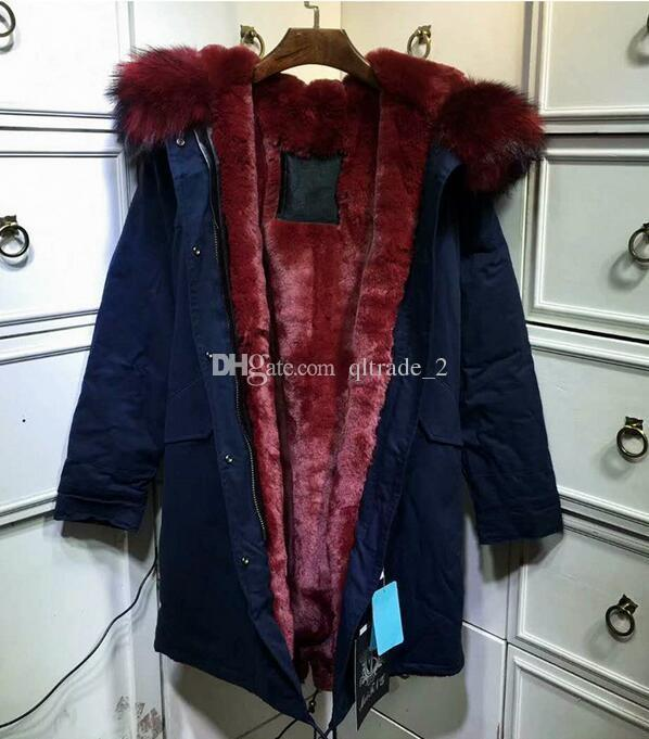 625147846 meifeng brand Snow jackets for sale wine red raccoon fur trim hoody snow  fur coats wine red Rabbit villus lining navy blue long parkas