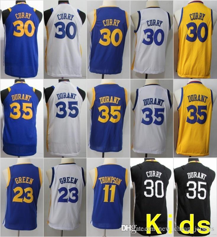 b8ff0b7f3 Youth Kids Golden State 30 Stephen Curry 35 Kevin Durant Warriors Jersey 23  Draymond Green 11 Klay Thompson Basketball Stitched Size S-XL Online with  ...