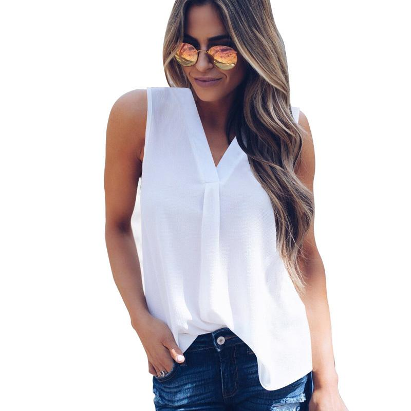 Plus Size 5XL Summer Sleeveless Chiffon Blouse Shirts Women Solid Sexy V-neck Off Shoulder Ladies Top Female Shirts Vest Blusas