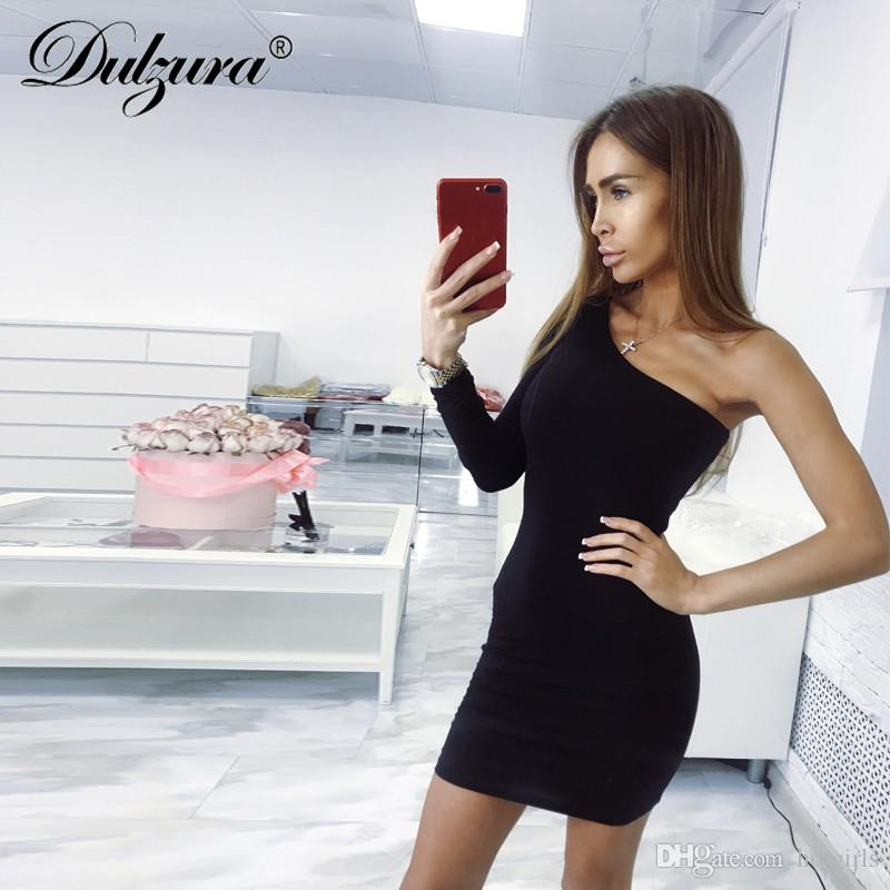 24446cc7794c Dulzura Slope One Shoulder Single Long Sleeve Bodycon Mini Party Dress 2018  Autumn Winter Women Sexy Black Red Clothes Dresses At Red And Black Casual  ...