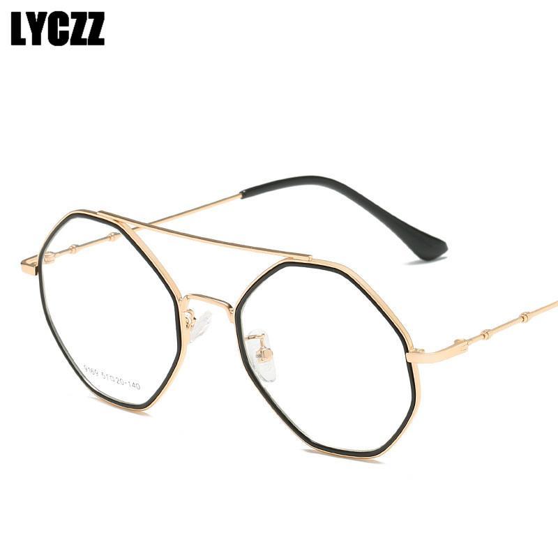 85fc1856dc 2019 LYCZZ Hexagon Women Clear Glasses Frame Men Optical Eyeglasses Frame  Vintage Computer Reading Prescription Glasses Oculos From Marquesechriss