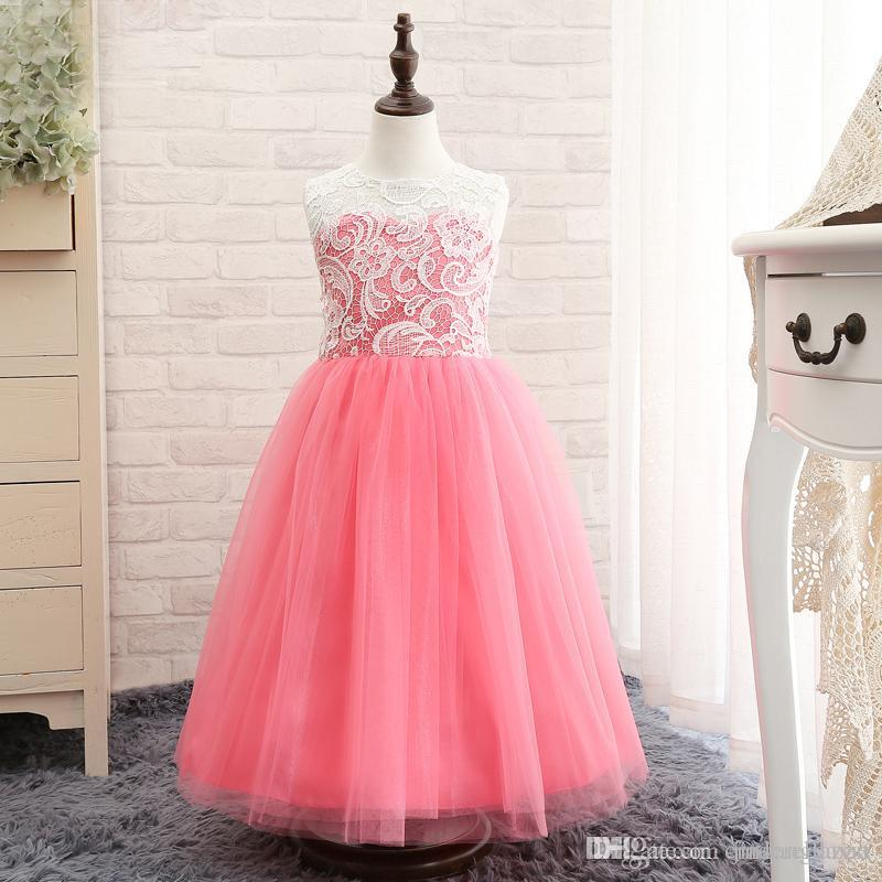 a364f54da Vintage Blush Pink Lace Flowergirl Dresses Tulle Skirt Little Girls Party Dresses  Junior Bridesmaid Dress For Girls Childrens Dresses Dress For Girl From ...
