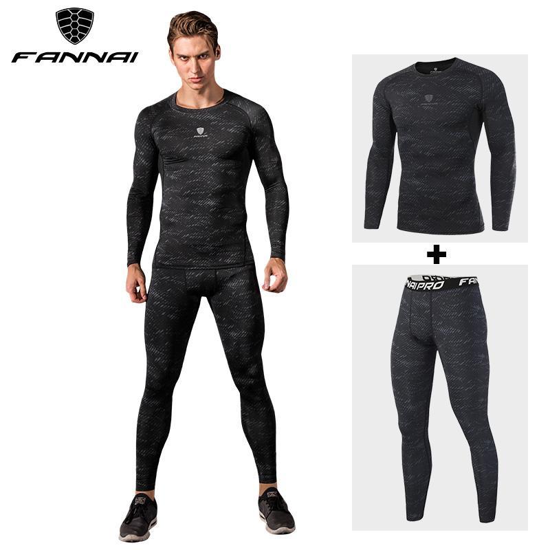f0b297992f3 FANNAI Compression Men s Sport Suits Quick Dry Fit Running Sets ...