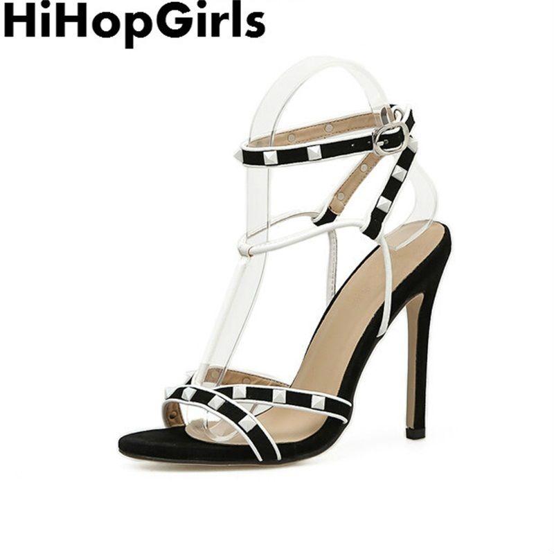 9ed63d0084 Compre Vestido Hihopgirls 2019 Roma Verão Colorblock Fivela Bombas Mulheres  Sandálias Sexy Sapatos De Salto Alto Moda T Belt Rebite Suede Partido  Mulher ...