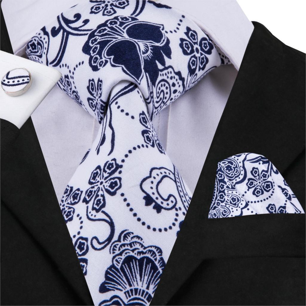 55c97710bb0f Hi-Tie Floral Tie Blue White Print Silk Ties for Men 8.5cm wide Men's  Wedding Tie Set Handkerchief Cufflinks Set Neckties C-1759
