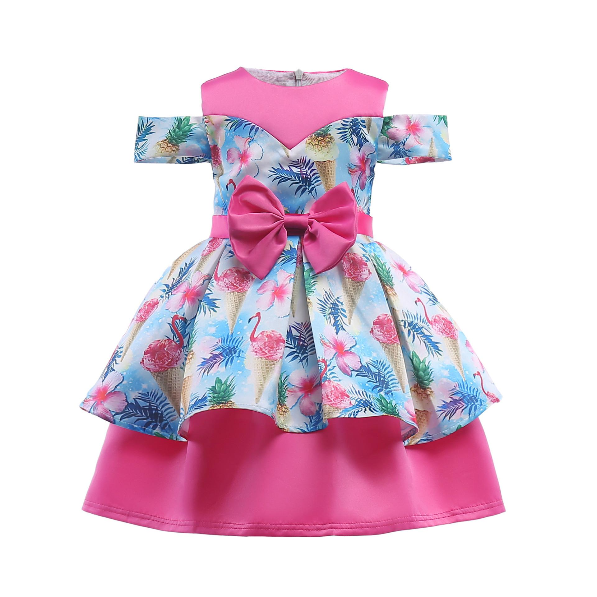 c136d73f2 Girls Dress Flamingo Print Off-the-shoulder Bow Decoration Children's  Summer Clothing for 95-140cm Girls