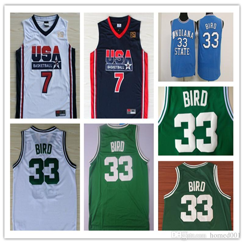 pretty nice dce42 37cd4 2019 Men 33# Larry Bird Basketball Jersey, Cheap Mesh Jersey Embroidery  Logos Larry Bird Jersey - White and Green Blue Stitching Shirts