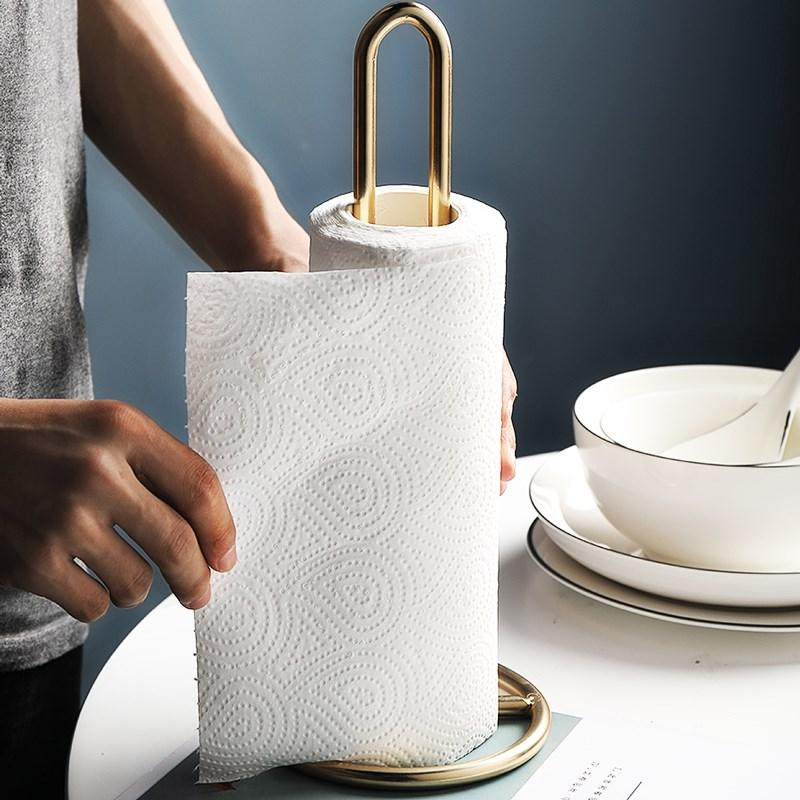 Nordic Light Luxury Iron Paper Towel Rack Ornaments Dining Table Kitchen Bathroom Roll Holder Thick Standing Tissue Storage Rack