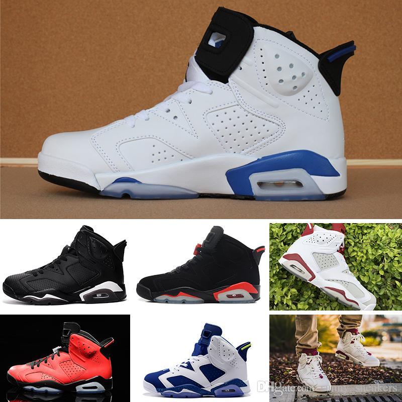 meilleur service 6f7ec a3676 Nike Air Jordan 1 4 6 11 12 13 Retro chaussures de basket-ball carmin  Classic 6s UNC noir bleu blanc infrarouge faible chrome femmes hommes sport  bleu ...