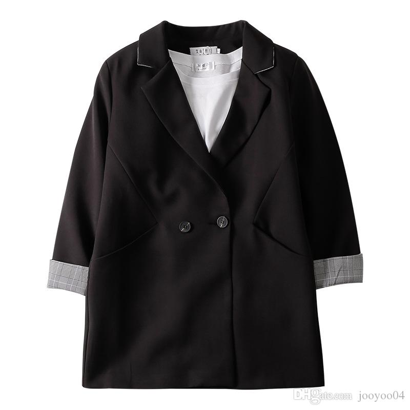 Jooyoo Spring New Women's Black Small Blazer Long Sleeve Leisure Sweet Loose Solid Color Medium And Long Section