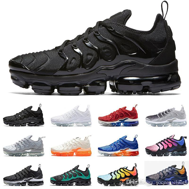 various colors f6a40 d00b6 Designer 2019 Tn Plus Running Shoes Women Mens Sneakers PURE PLATINUM  triple black white cool wolf grey Chaussures tns Schuhe Trainers