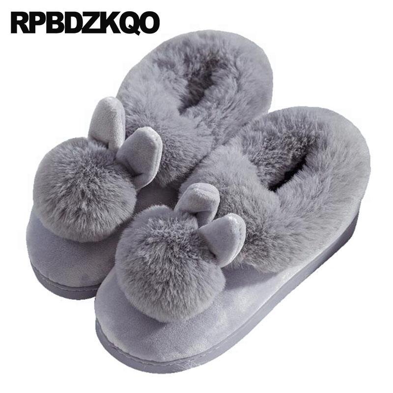 e5875f77a17e Plush Faux Fur Indoor Winter House Home Footwear Rabbit Floor Furry Women 5  Bedroom Most Popular Products Shoes Fuzzy Fluffy Slipper Boots Slipper Socks  ...