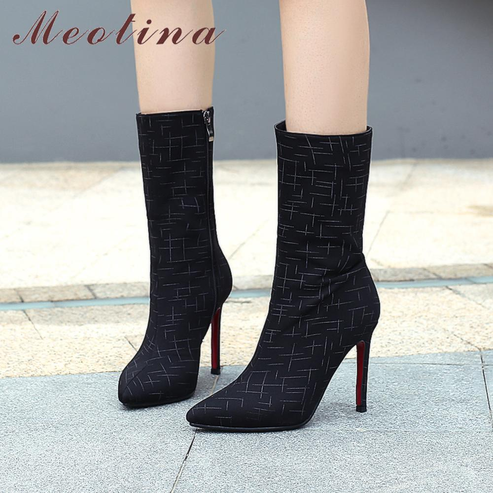 Meotina Winter Shoes Women 2018 High Heel Boots Pointed Toe Mid Calf Boots  Zipper Sexy Stiletto High Heels Brand Designer Shoes Mid-Calf Boots Cheap  ... b70b18253a07