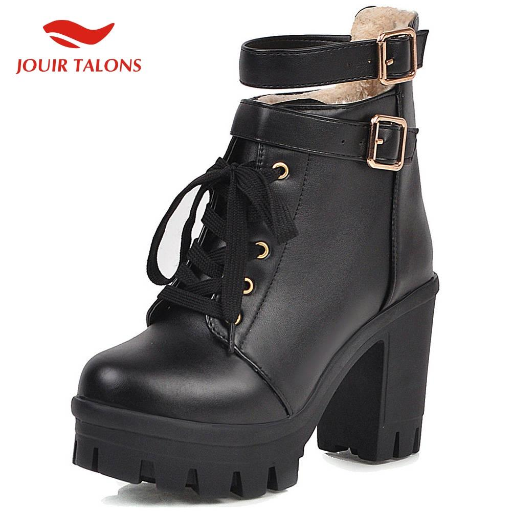 JOUIR New Fashion Dropship Large Size 33-43 Thick Heels Ankle Boots Woman Shoes Platform Buckle Strap Shoes Women Boots
