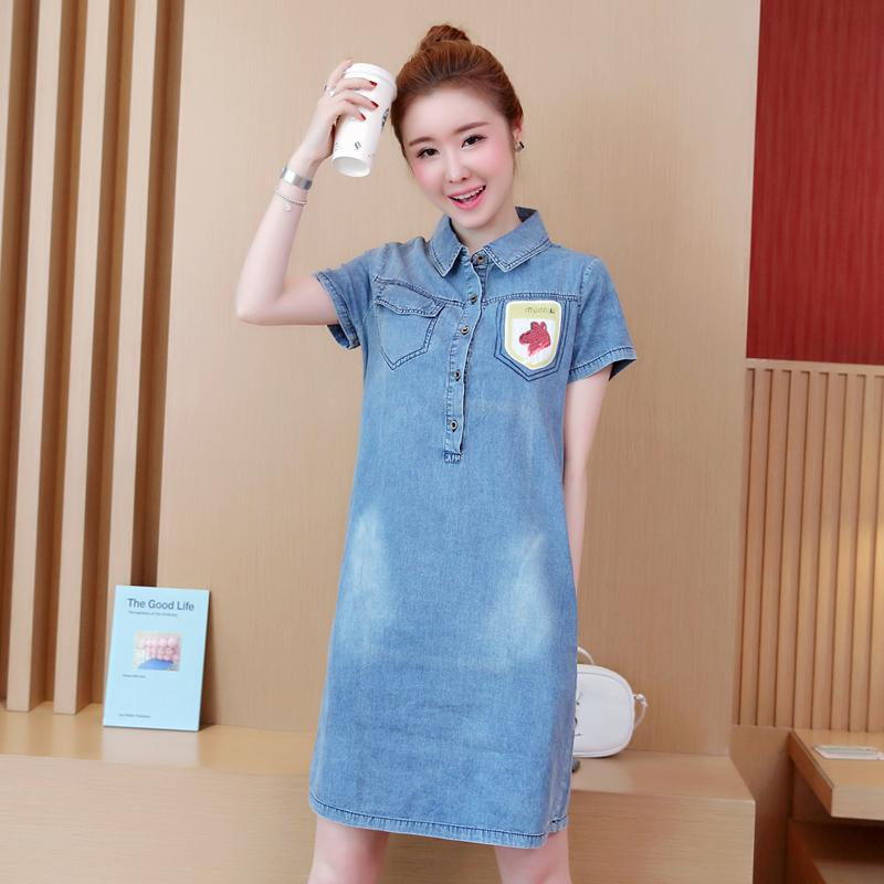 3326e9100b4 New Summer Style Women Dress Plus Size Fashion Casual Loose Solid Slim  Short Sleeve Jeans Dress For Women Larger Denim One Piece Lady Dress  Evening Dresses ...
