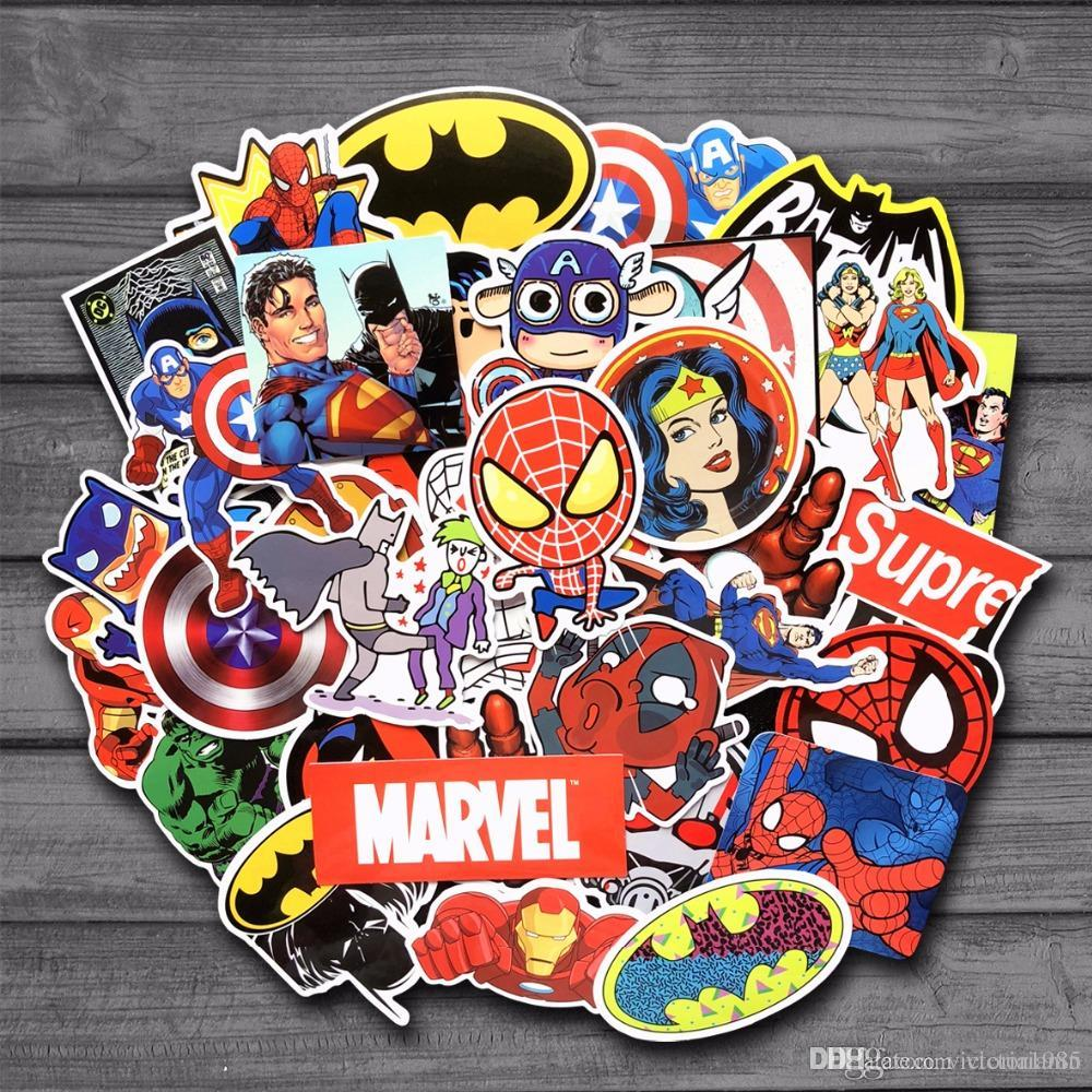 New stickers for marvel super hero dc for car laptop notebook decal fridge skateboard batman superman hulk iron man uk 2019 from victorianiu