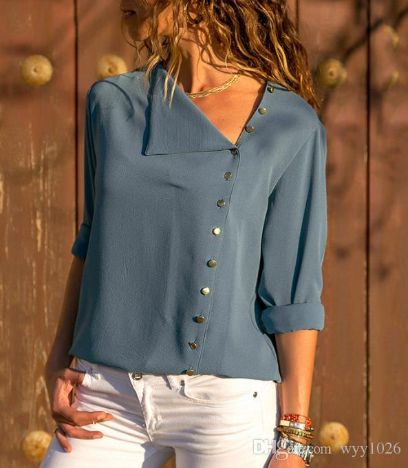 c34859c3088 2019 Chiffon Blouse 2018 Fashion Long Sleeve Women Blouses And Tops Skew  Collar Solid Office Shirt Casual Tops Blusas Chemise Femme From Wyy1026, ...
