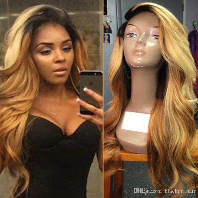 Super Wavy Full Lace Human Hair Wigs for Black Women Brazilian hair Two Tone #1b 27 ombre color Lace Front Wig