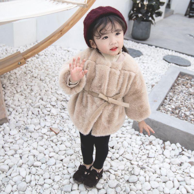 74b69c1d2be9 Winter Warm Children Baby Kids Girls Faux Fur Coat Bow O-neck ...