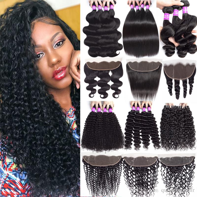 9A Indian Virgin Hair Extension Water Deep Wave 3Bundles With Ear to Ear Lace Frontal Closure Human Hair Bundles With 13x4 Lace Frontal