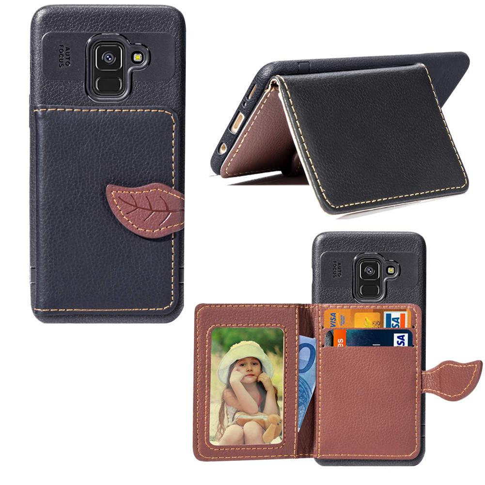 Wallet Case for Galaxy A8 2018 Light Weight Phone Stand Leaf Clip with Card Slot Money Pocket Soft PU Leather Surface 97 Models for Option
