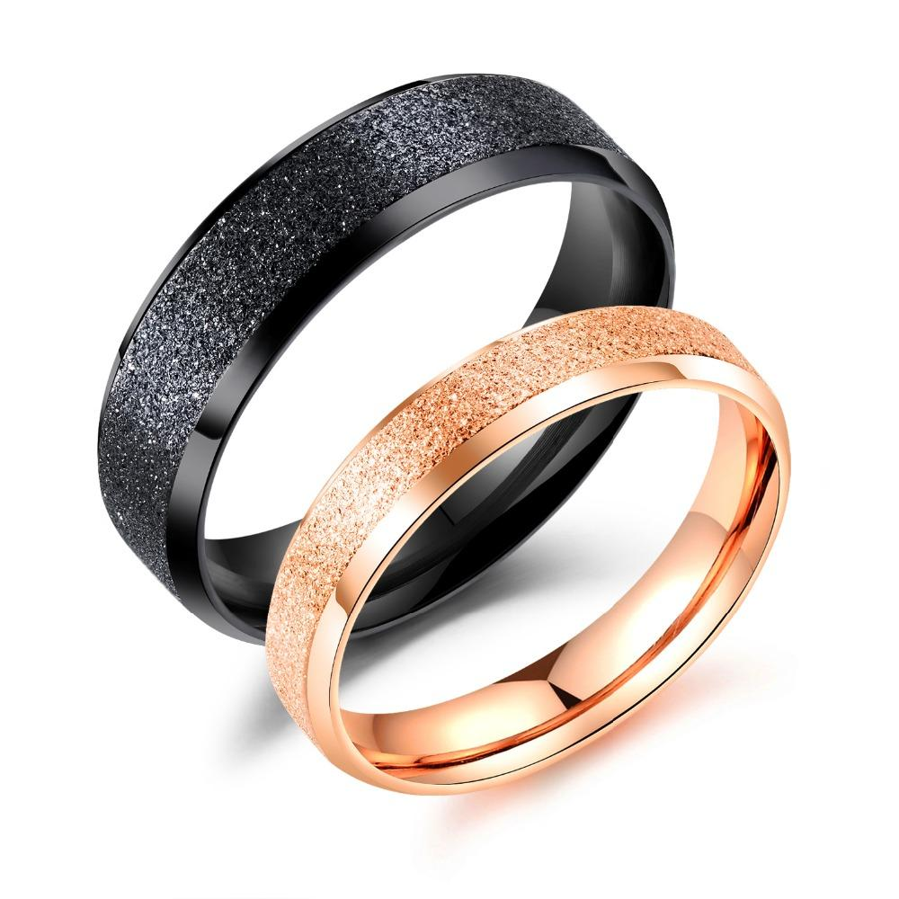 ba09916f6e Couple Ring Men's Women's Glamour Stainless Steel Black/Rose Gold Rings  Valentine's Day Charms Gifts Jewelry Anel