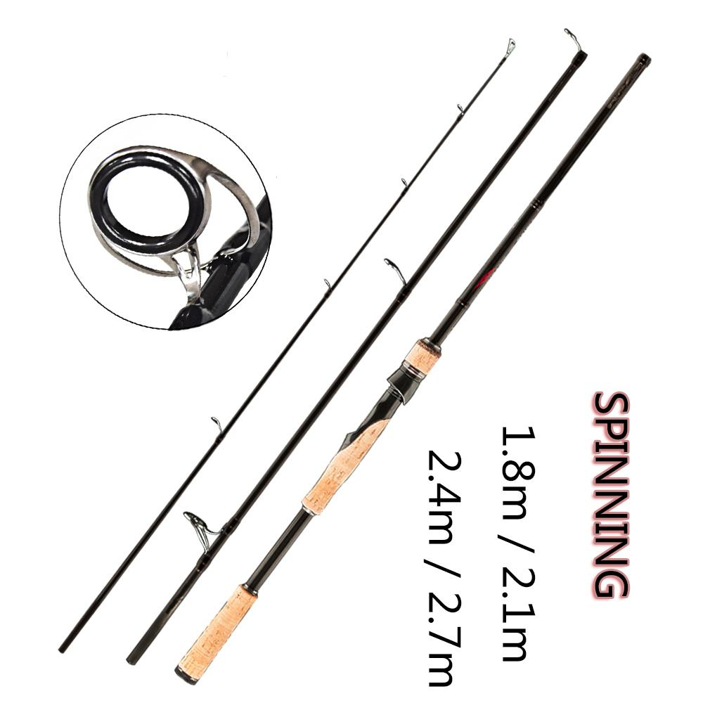 FX 1.8m 2.1m 2.4m 2.7m Fishing Rod Spinning Casting Travel Ultra Light 3 Section Fishing Lure Rod Vara De Pesca ML/M/MH