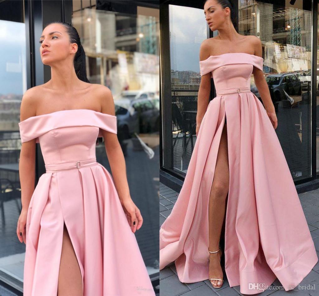 cb4bf2c767 Charming Backless Long Prom Dresses 2019 Pink Plus Size Robe De Soiree  Floor Length Formal Dress Evening Wear High Split Vestido De Festa Stores  That Sell ...