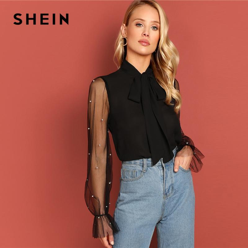 43416b4454 2019 SHEIN Black Tie Neck Pearl Beading Mesh Sleeve Top Elegant Workwear Long  Sleeve Plain Blouses 2018 Autumn Women Tops And Blouses From Fabian05