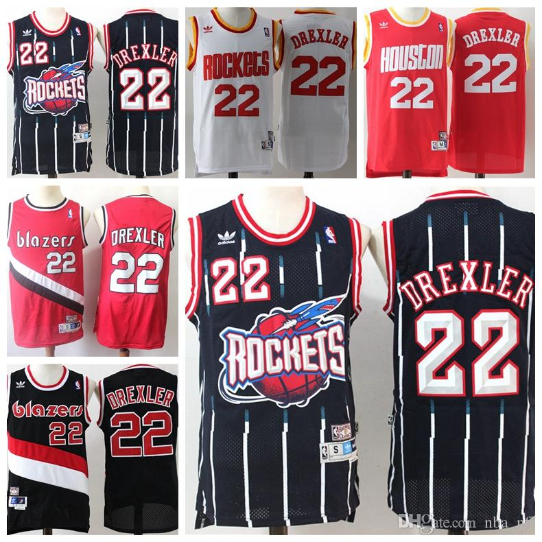 new styles 8b36a 77bdc Retro Rockets 22 Clyde Drexler Authentic Jersey Mnes Trail Blazers 22 Clyde  Drexler Retro Dense Embroidery Mesh Basketball Jersey Stitched