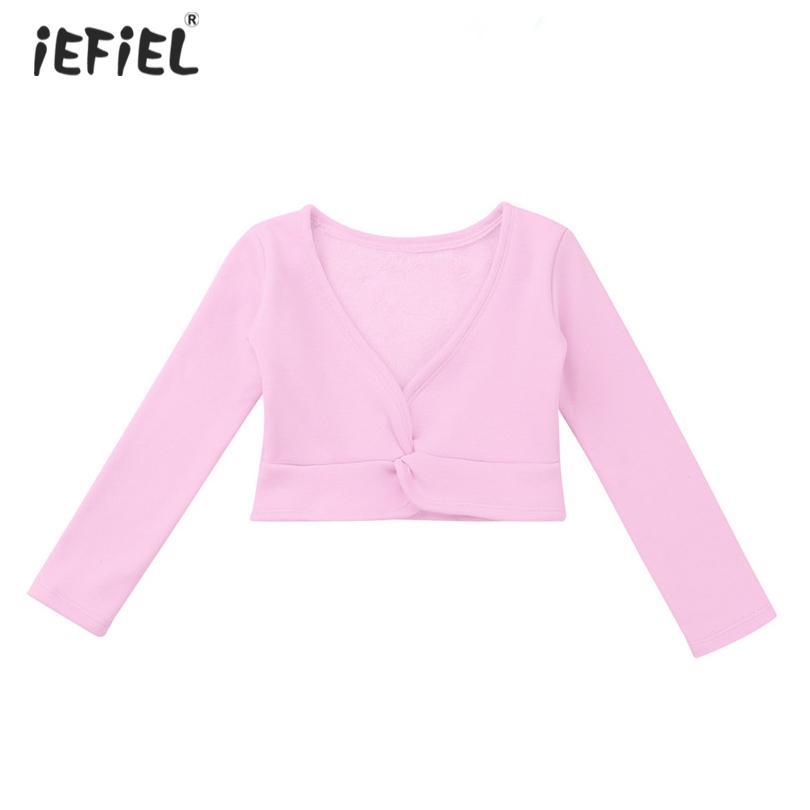 b3668b90c Kids Girls Classic Long Sleeve Wrap Top Cardigan Coats Front Twist ...