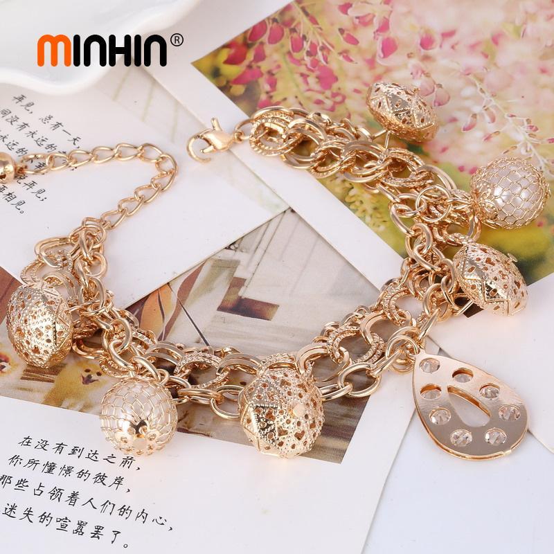 MINHIN Nuovo arrivo Donna Bracciali Bracciali Bracciale oro Bracciale Charms Bridal Fashion Wedding Jewelry Braccialetti di perline africane