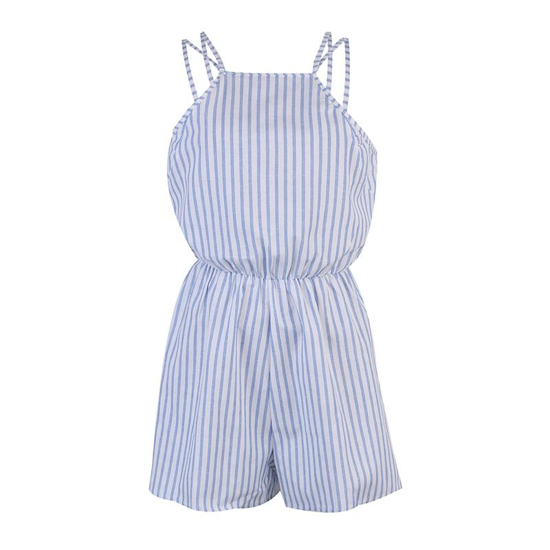 aa26daef1b47 2019 Summer Rompers Women Jumpsuit Sexy Ladies Cotton Jumpsuit Female Striped  Romper Short Trousers Bodycon Blue Romper Playsuit From Mj covenant