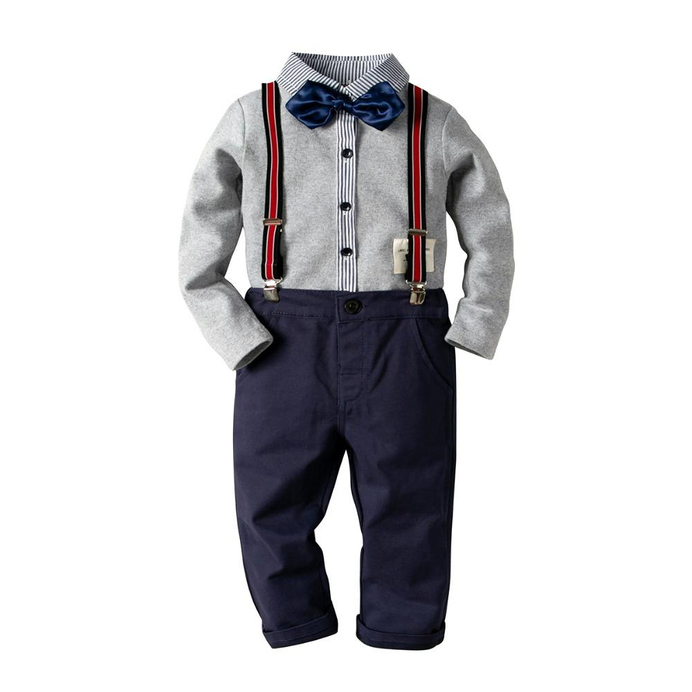 28d5f78af Compre Conjuntos De Ropa Para Niños Formales Conjunto De Traje Para Niños  Bebés Ropa De Niños Conjunto De 3 Piezas De Algodón Camisa De Manga Larga +  ...