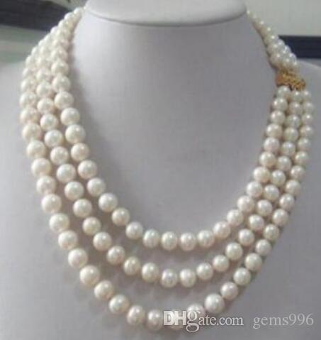 FREE SHIPPING + triple strandsAAA 8-9mm Real Australian south sea white pearl necklacE 17-19""