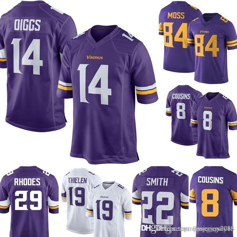 new arrival a4348 1b333 14 Stefon Diggs Jersey Minnesota Men's Vikings Football Jerseys Embroidery  8 Kirk Cousins 22 Harrison Smith S-XXXL
