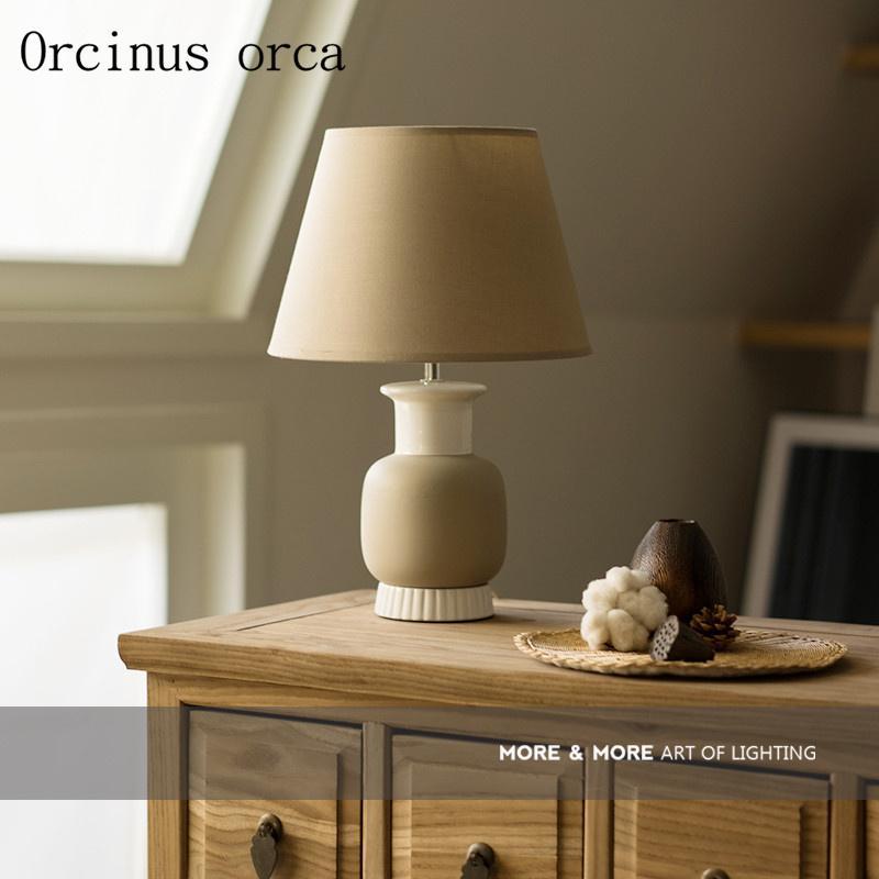 2019 Nordic Minimalist Modern Grey Ceramic Table Lamp Living Room ...