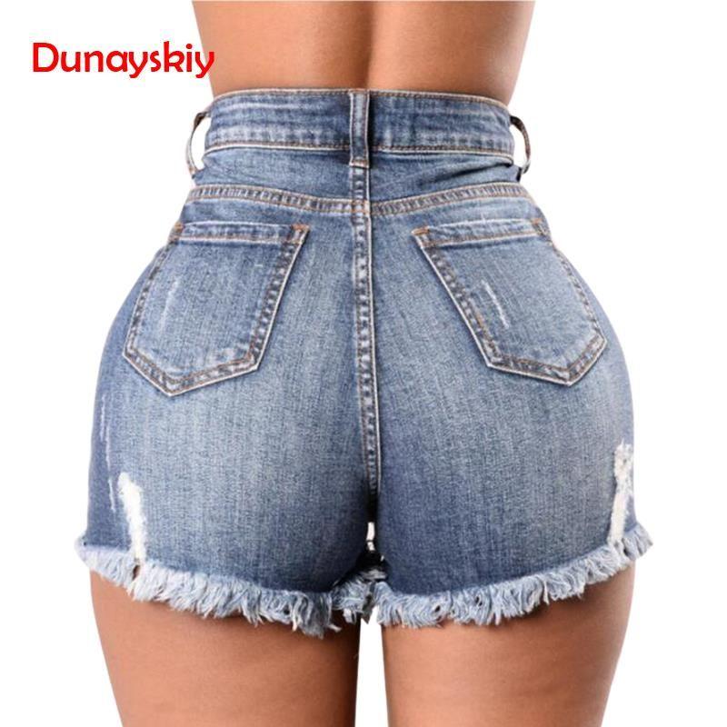 30a9b8ee60c9 2019 Jeans Curto Cintura Alta Denim Shorts Mulheres Buraco Rasgado Verão  Streetwear Shorts Casuais Femininos Plus Size Moda