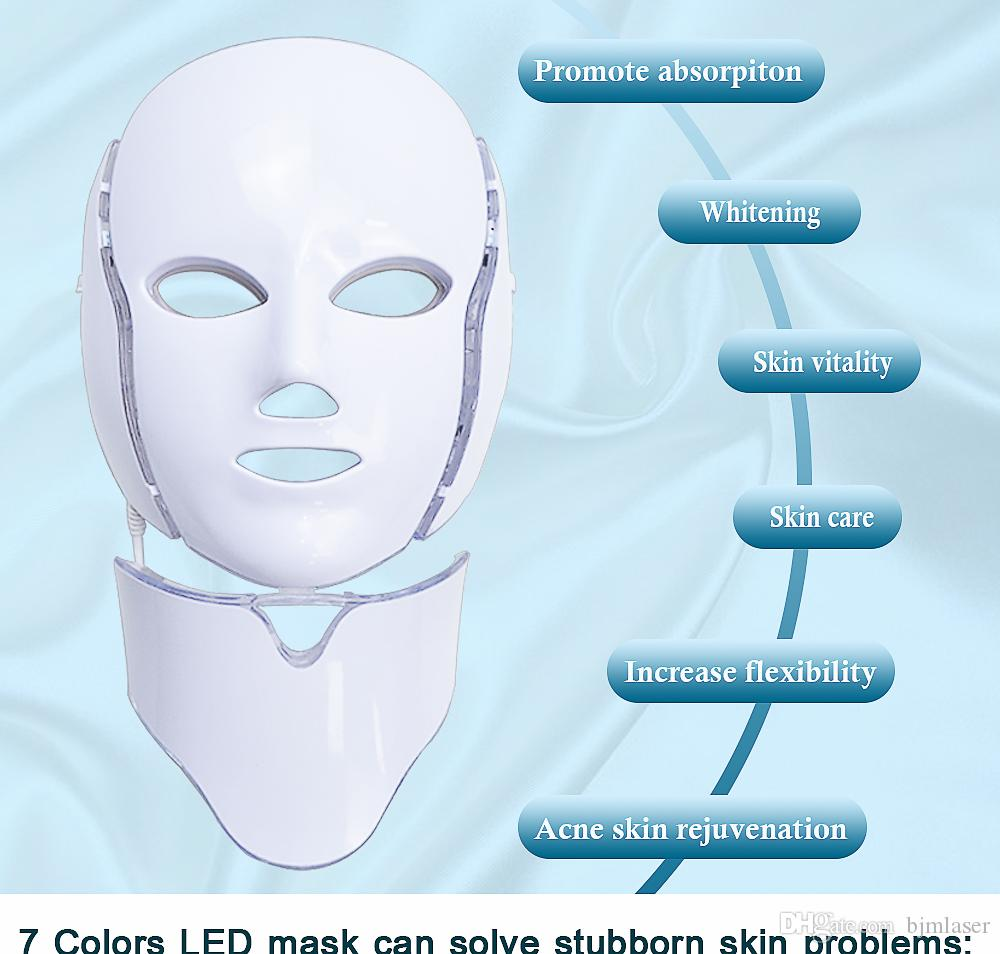 2019 Hot Selling 7 LED Photon Therapy Light Treatment Facial Beauty Skin Care Mask