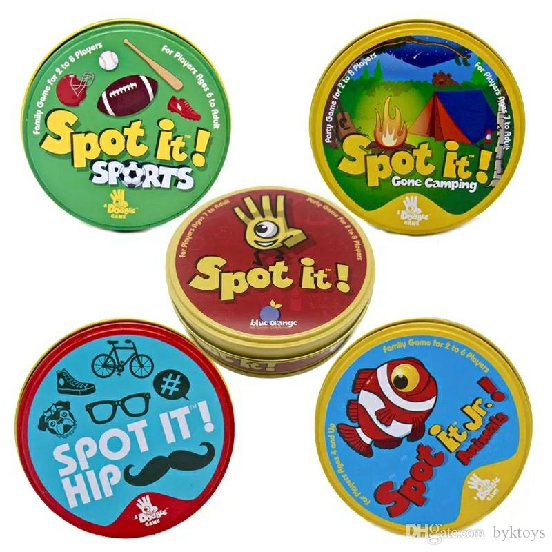 5 Versions Spot It Card Game Classic Spot/Camping/Animal/Sport/Hip Family Party Entertainment Game Toy for Boys Girls Gift