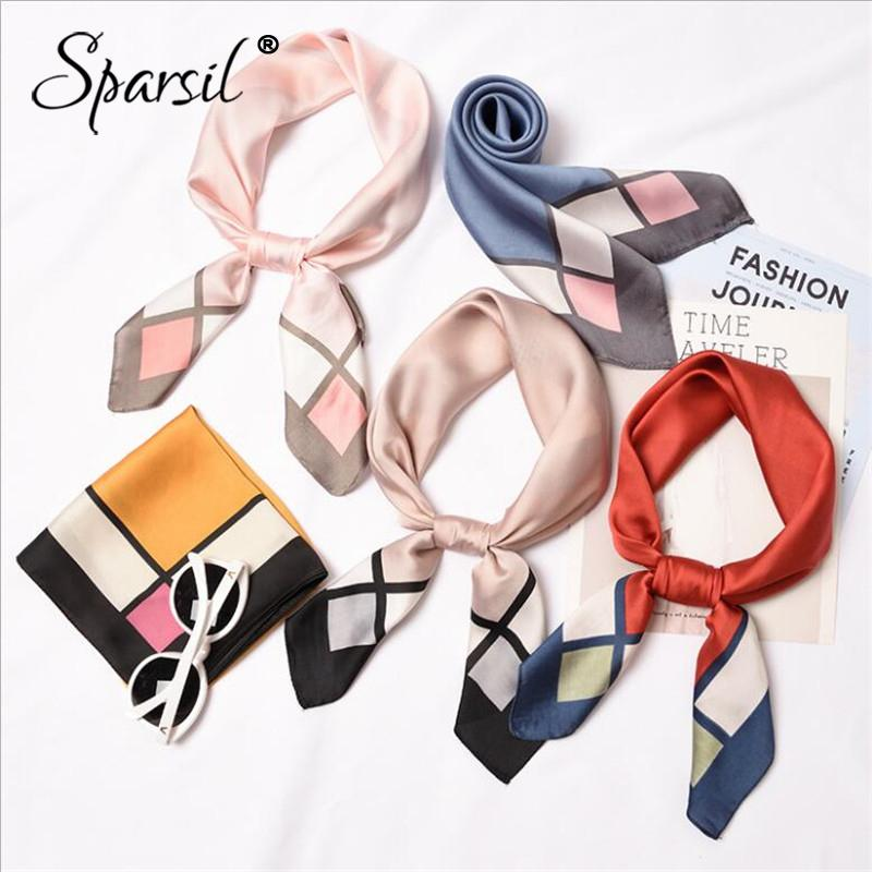 Sparsil 2019 New Women Stain Silk Square Scarf Stripe Wraps Head Neck Hair  Tie Band Neckerchief Fashion Headband Ring Scarf70*70