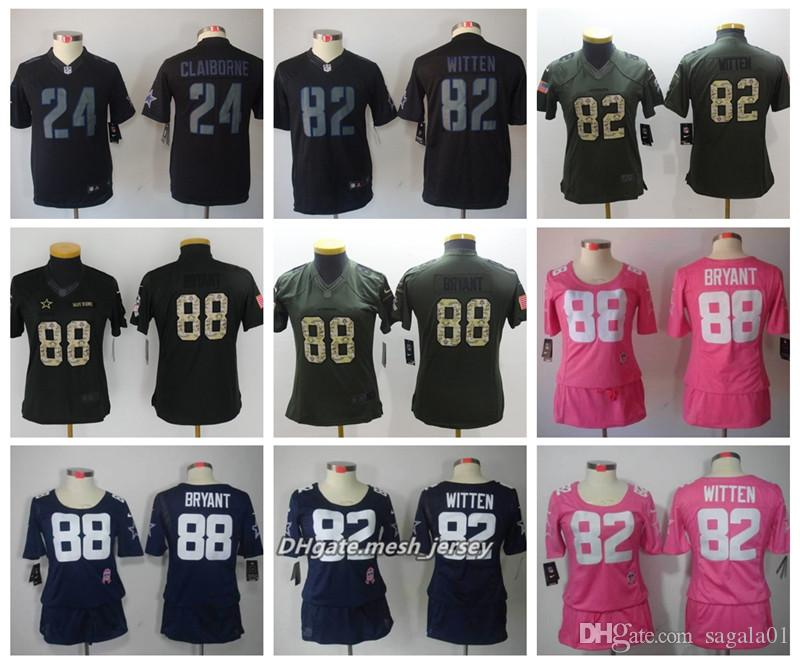 online store 1b8c7 16e39 Women Dallas Cowboys American Football Jersey 21 Ezekiel Elliott 4 Dak  Prescott 22 E.Smith 24 Claiborne Color Rush Stitching Jerseys