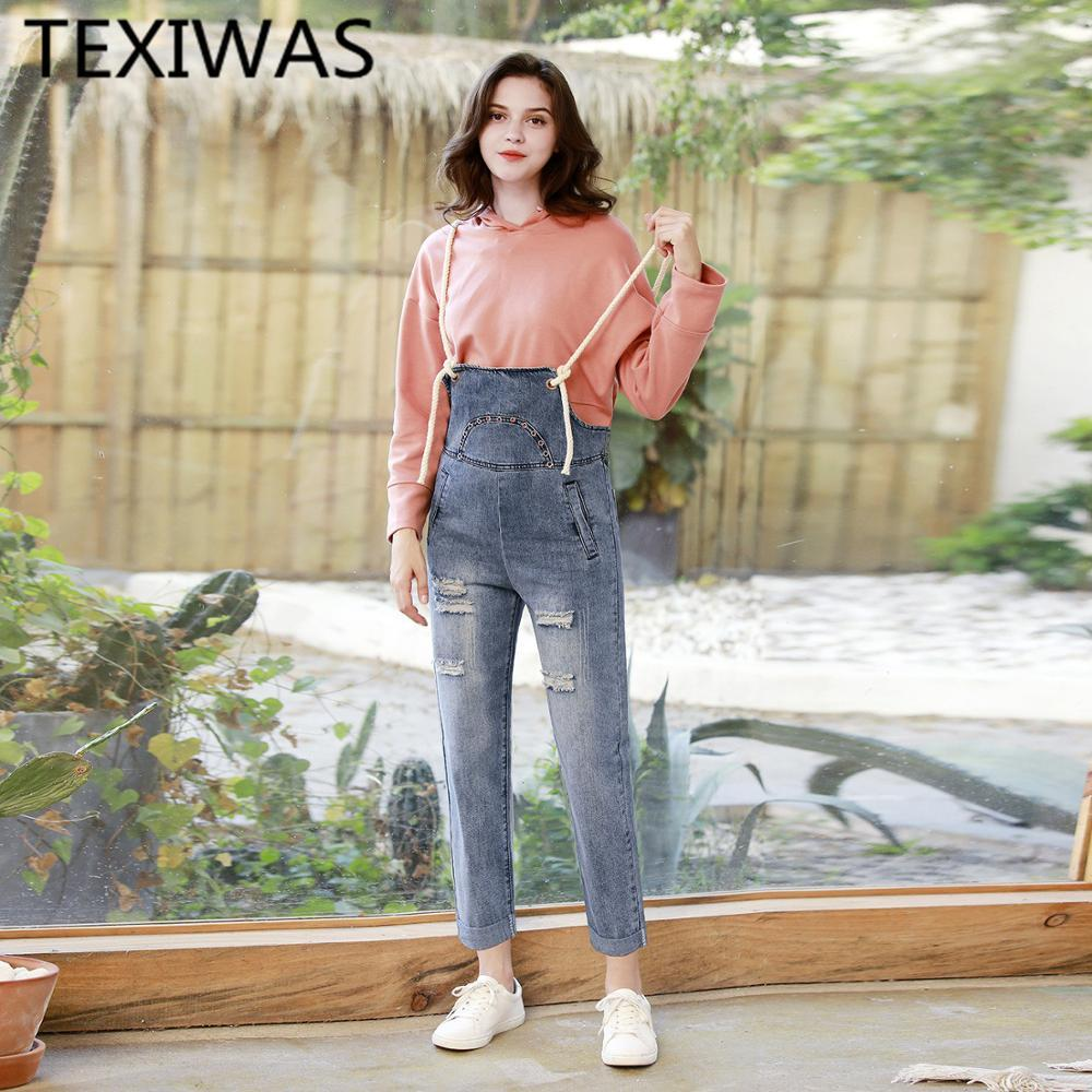 TEXIWAS 2019 Loose Strap Backless Denim jeans pants women cowboy Overalls Harem Trousers Hole Jumpsuit Women Rompers Streetwear