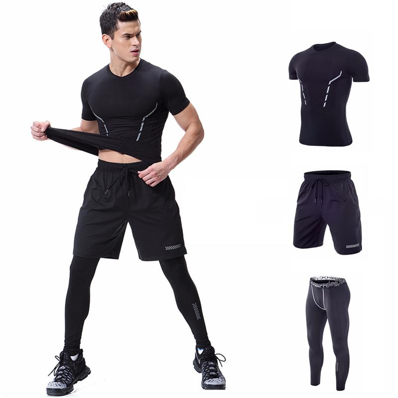 3 Piece Jogging Suits Running Compression Shirt Pant Bodybuilding Sports Wear For Men Gym Workout Clothes Tracksuit Short Sleeve