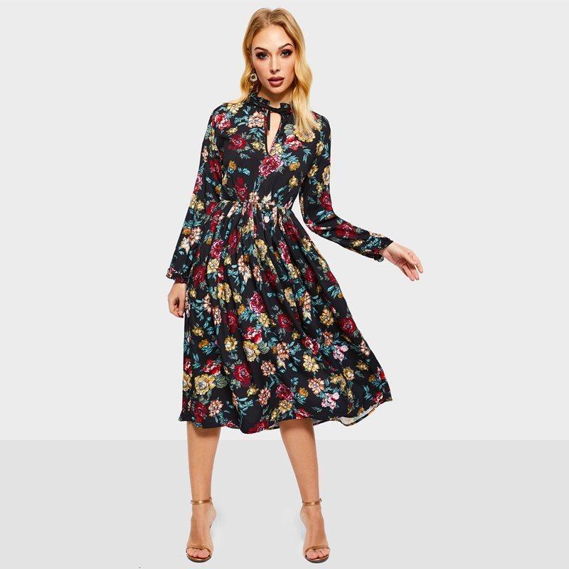 2198bc79a58 Acheter Femmes Boho Rose Floral Robe Noire Printemps Voyage Plage Arc  Collier Profond V Plissé Drapé Grand Swing Fleur Robes C19041501 De  35.2  Du Shen8407 ...