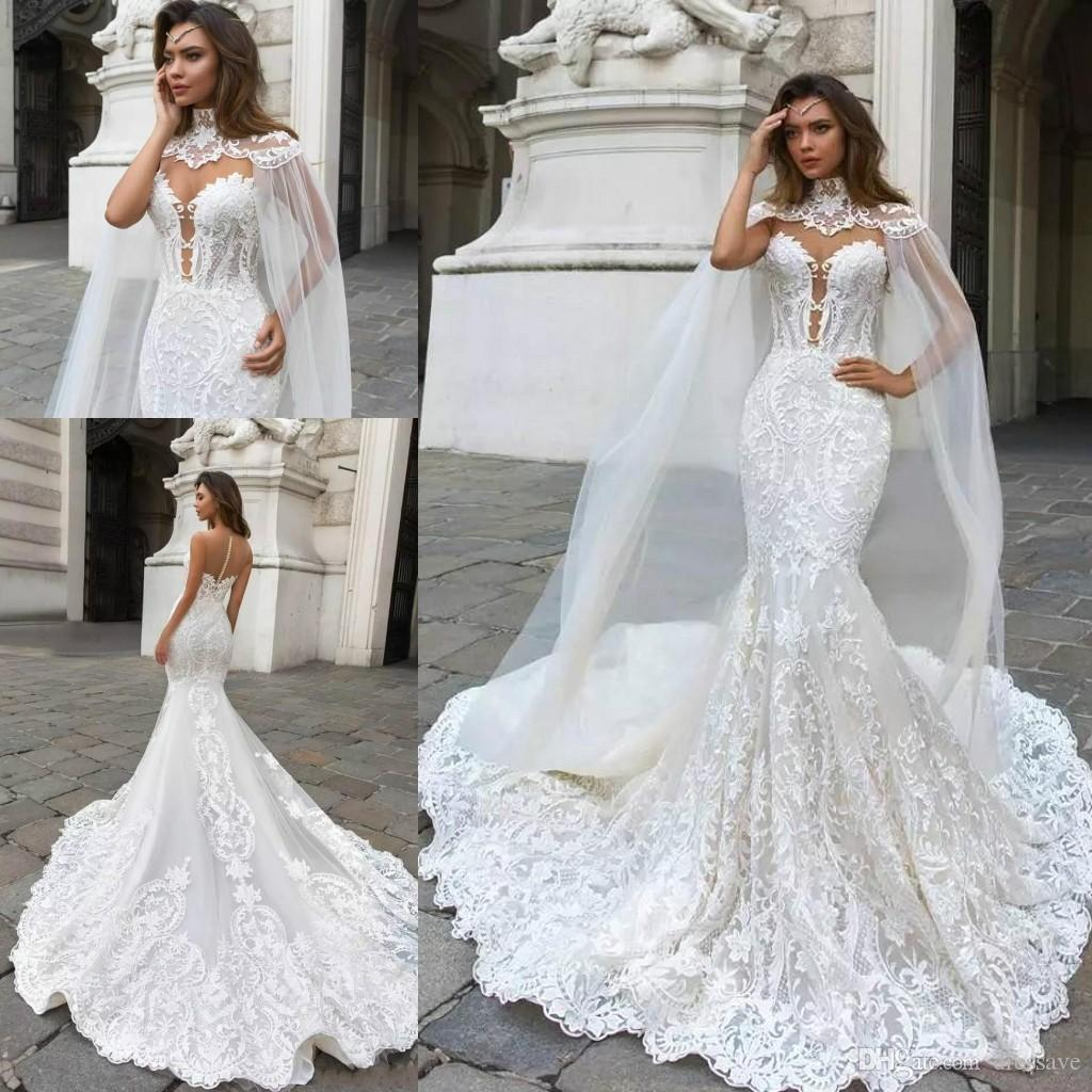 Gorgeous Mermaid Lace Applique Wedding Dresses with Cape Sheer Plunging Neck Bohemian Bridal Gowns Plus Size