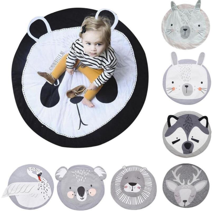 Baby Play Mat Blanket Children Letter Alphabet Crawling Mat Swan Game Pad Round Carpet Children Room Decoration Ins Hot Style Batteries Power Source